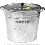 Galvanized Compost Bucket 15 Liters