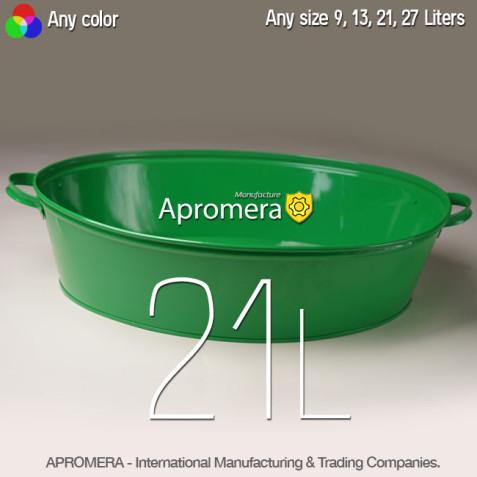 Colored Metal Wash Tub - 21L (Green color)
