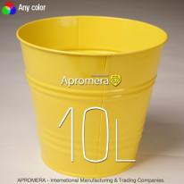 Coloured Metal Flower Pot – 10L (yellow color)