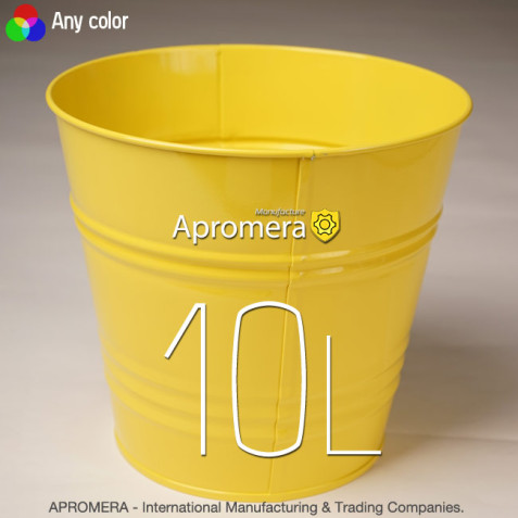 Coloured Metal Flower Pot - 10L (yellow color)