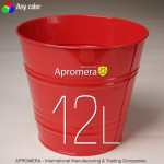 Coloured Metal Pot - 12L (Red color)