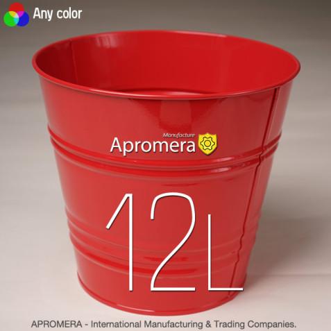 Coloured Metal Pot - 12L (Red color)