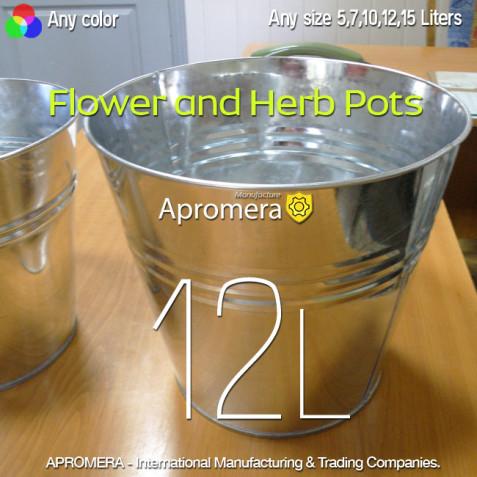 Galvanized Flower Pot - 12 Liters