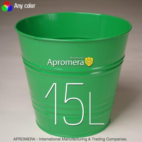 Coloured Metal Flower Pot - 15L (Green color)