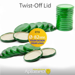 Metal Twist-Off Jar Lid - 82mm (GREEN color) for canning