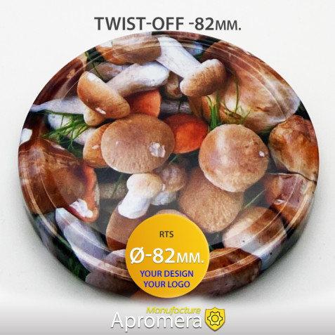 Metal Twist-Off Jar Lid - 82mm (MUSHROOMS PATTERN) for canning
