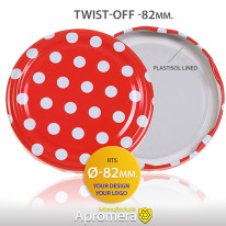 Metal Twist-Off Jar Lid – 82mm (POLKA DOT PATTERN) for canning