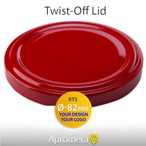 Metal Twist-Off Jar Lid - 82mm (RED color) Plastisol Lined
