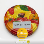 Metal Twist-Off Jar Lid - 82mm (Mixed Fruits) for canning