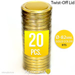 Twist-Off Jar Lid - 82mm (GOLD color) for canning RTO, RTB, RTS, RSB