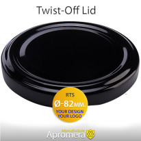 Metal Twist-Off Lid – 82mm (BLACK color) Plastisol Lined Caps