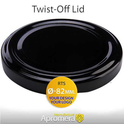 Metal Twist-Off Lid - 82mm (BLACK color) Plastisol Lined Caps